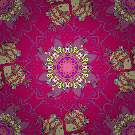 superlative: Hand-drawn colored mandala on a colorful background. Vector abstract pattern. Illustration