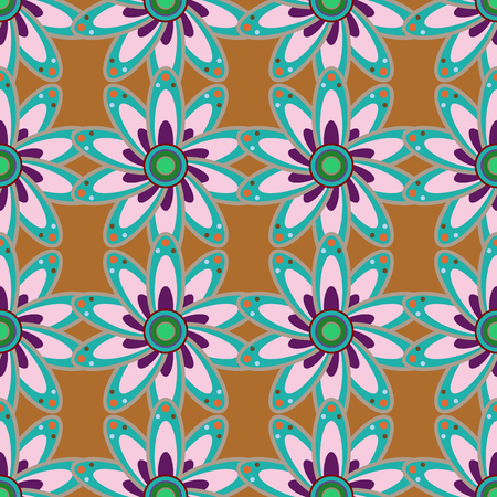 ethno: Floral watercolor seamless background. Vector textile print for bed linen, jacket, package design, fabric and fashion concepts. Seamless pattern with blue flowers.