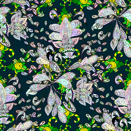 carnal: Blooming jungle. Motley vector illustration. Seamless exotic pattern with many tropical flowers. Illustration