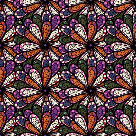 Mandala colorata su un baqckground blu. Ornamento rotondo con rami intrecciati, fiori e riccioli. Modello circolare mandala astratto di vettore. Arabesco.