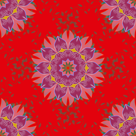 elaborate: Art, round, colorful ornament on a colorfil background. Ornate, eastern mandala with colored contour.