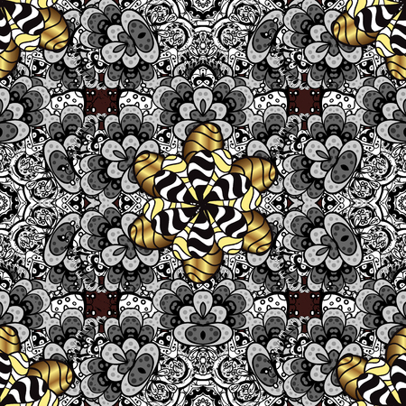 Vector golden textile print. Pattern oriental ornament. Floral tiles. Islamic design. Golden pattern on brown background with golden elements.