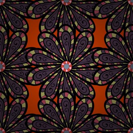 Vector illustration with many colorfil flowers. Trendy seamless floral pattern. Ilustração