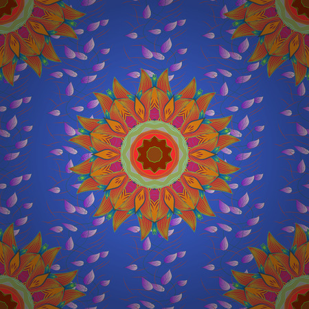 admirable: Vector hand-drawn mandala, colored abstract pattern on a blue background.