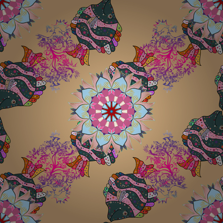 luster: Vintage pattern. Christmas Card Mandala Design. Decorative Indian Round Mandala on colorfil background. Islam, Arabic, Indian, Turkish, Pakistan. Invitation Card, Scrapbooking. Colored over colorfil. Illustration
