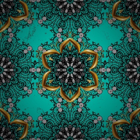 ?attern on blue and dark background with dark elements. Openwork delicate pattern. Dark texture curls. Brilliant lace, stylized flowers, paisley. Oriental style arabesques. Vector.