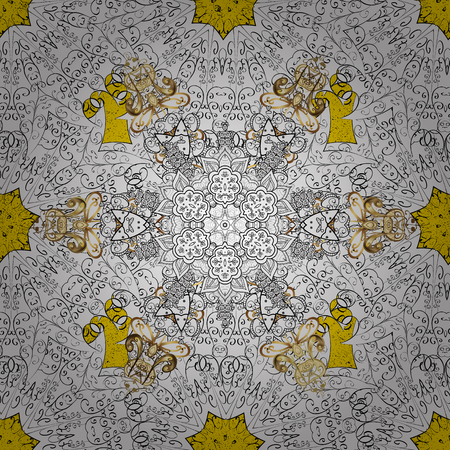 Colored pattern on yellow background with white elements. Vector white pattern. Oriental style arabesques. White textured curls.
