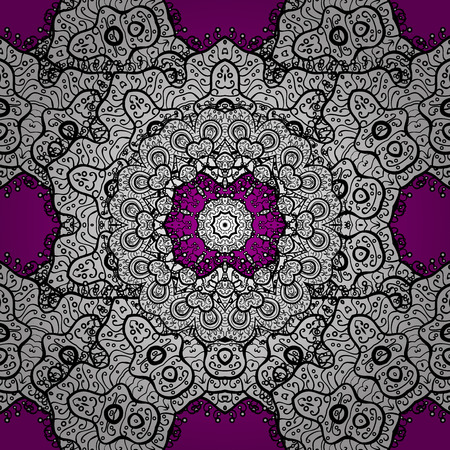Seamless oriental ornament in the style of baroque. Traditional classic vector white seamless pattern. White elements on magenta background.