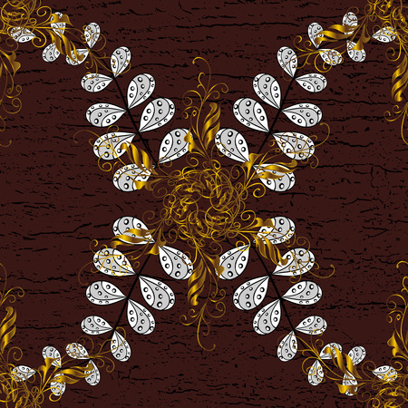 Vector golden pattern. Golden textured curls. Oriental style arabesques. ?attern on brown background with golden elements.