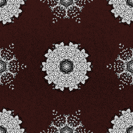 Pattern on brown background. Vector white mehndi seamless pattern. Ornamental floral elements with henna tattoo, whiteen stickers, mehndi and yoga design, cards and prints.