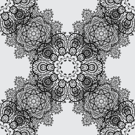 arched: Vector illustration. Vintage seamless pattern on a gray background with dim elements.