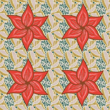 Seamless pattern abstract floral background. Vector sketch of many abstract flowers in colors. Hand drawn seamless flower illustration.
