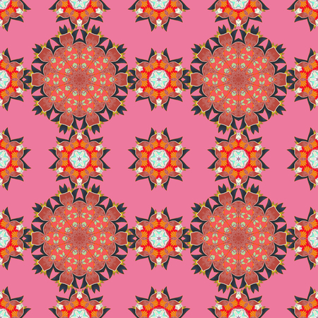 Floral ornament seamless pattern. Round texture in Vector illustration. Illustration