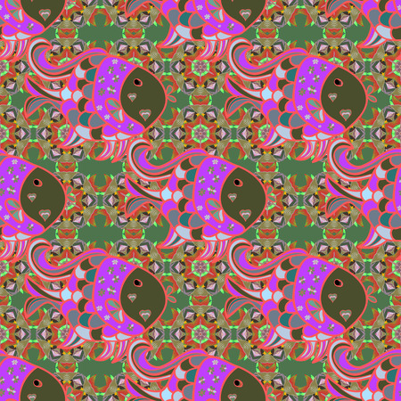ethno: Multicolor ornament of small simple flowers, vector abstract seamless pattern for fabric or textile design. Illustration
