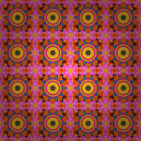 ethno: Endless vector texture for romantic design, decoration, greeting cards, posters, wrapping, for textile print and fabric. Floral seamless pattern with bright summer flowers in colors.