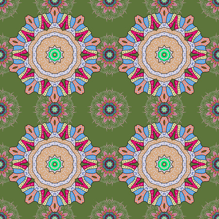Boho style flower seamless pattern. Tiled mandala design, best for print fabric or papper and more. Vector Mandala. Background.