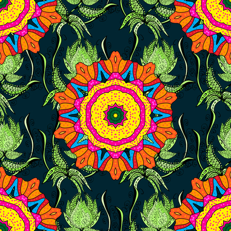 Abstract vector seamless pattern flower design in colors. Floral seamless pattern with watercolor effect. Textile print for bed linen, jacket, package design, fabric and fashion concepts.