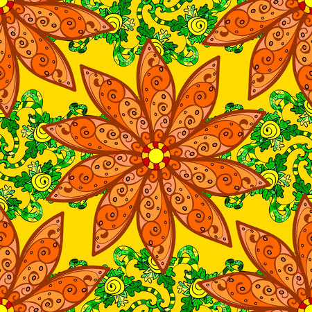 Multicolor ornament of small simple flowers, vector abstract seamless pattern for fabric or textile design. Illustration