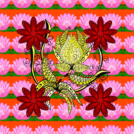 vegetal: Vector flower concept. Seamless floral pattern can be used for sketch, website background, wrapping paper. Summer design. Leaf natural pattern in colors. Illustration