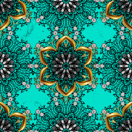 Traditional vector and dark pattern. Classic oriental background. Damask ornament. Illustration