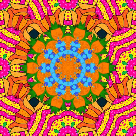 Vintage vector floral seamless pattern in colors. Illustration