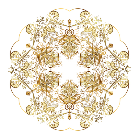 Arab, Asian, ottoman motifs. Vector illustration. Simple gold snowflakes, floral elements, decorative ornament. On white background.