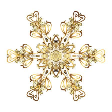 Hand-drawn vector illustration of isolated stylized snowflakes. Beautiful decoration. Symbol of winter. Isolated watercolor golden snowflakes on white background.