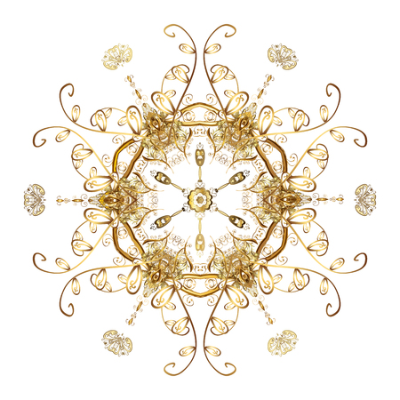 Vector background for Christmas with decorative golden snowflakes. Pattern on white background. Design.