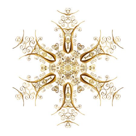 Abstract Christmass illustration with gold snowflakes on a white background. Vector Christmas party design template.