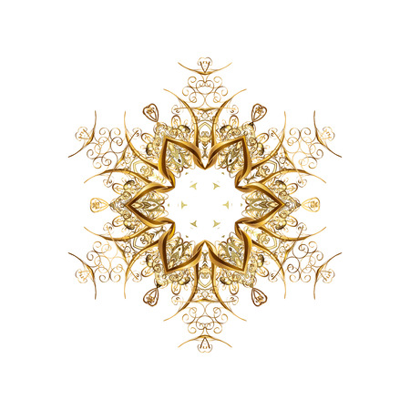Stock vector illustration falling snow. Golden snowflakes, snowfall, stylized snow on white background. Design.