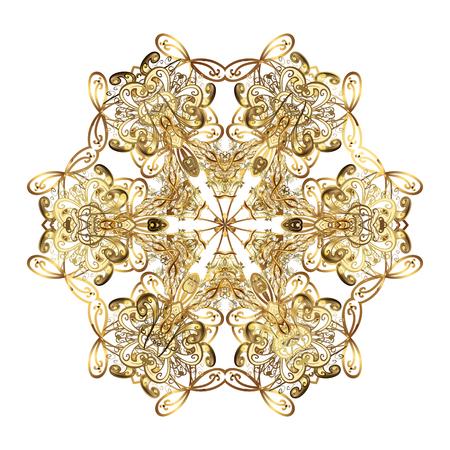 Golden snowflakes, snowfall, stylized snow on white background. Design. Stock vector illustration falling snow. Illustration