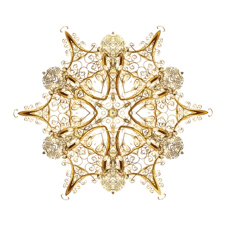 Vector abstract design. Of stylized gold snowflakes and dots on white background.