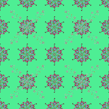 Multicolor ornament of small simple blue flowers, vector abstract seamless pattern for fabric or textile design.