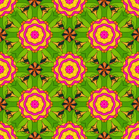 Tiled mandala design, best for print fabric or papper and more. Vector Mandala on colorful background. Boho style flower seamless pattern.