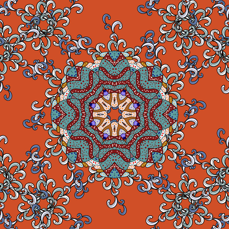 Luxury floral pattern. Unusual greeting in oriental boho chic style. Vector invitation with colored mandala design element. Round flower ornament. Decorative vintage print. Square invite template.