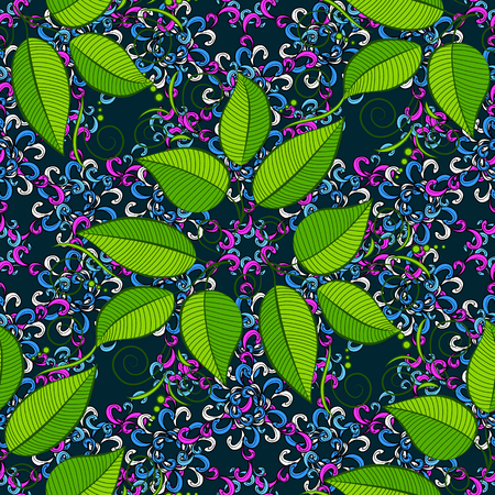Vector illustration of leaves. Seamless pattern with leaves on motley background. Illustration