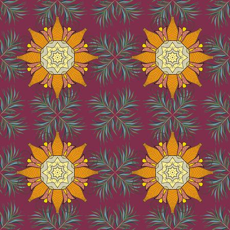 Vintage vector floral seamless pattern in colors, vector illustration.. Illustration