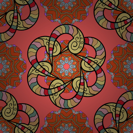 jewerly: Bag design. Hand-drawn vector mandala with colored abstract pattern on a colorfil background. Illustration