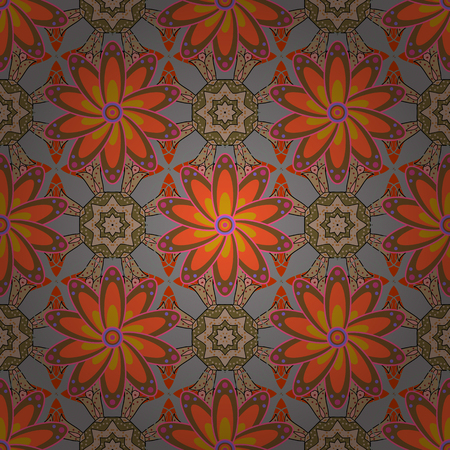 Vintage vector floral seamless pattern in blue colors.
