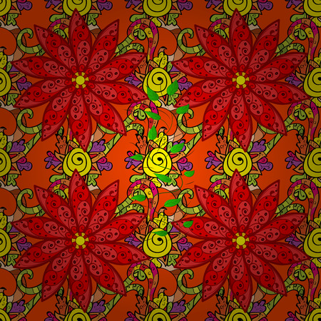 vegetal: Endless vector texture for romantic design, decoration, greeting cards, posters, wrapping, for textile print and fabric. Floral seamless pattern with bright summer flowers in colors.