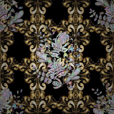 黄金の要素と黒の背景の黄金パターン。黄金の要素を持つ黒い背景にシームレスなビンテージ パターン。クリスマス、雪の結晶、新年。