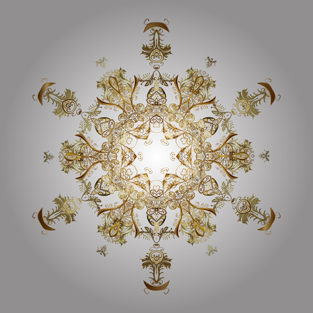 Abstract minimal background. Vector golden snowflakes on a white background.