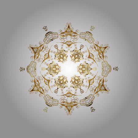 Vector golden snowflakes winter New Year frame. On white background.