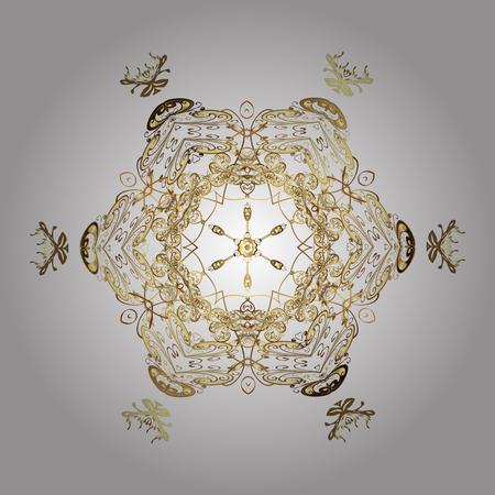 별이 빛나는 하늘. 떨어지는 눈. 양식에 일치시키는 황금 눈송이와 흰색 배경에 점이있는 질감.