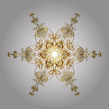 25th: Illustration. Snowflakes, snowfall. Beautiful vector golden snowflakes isolated on white background. Falling Christmas stylized gold snowflakes.