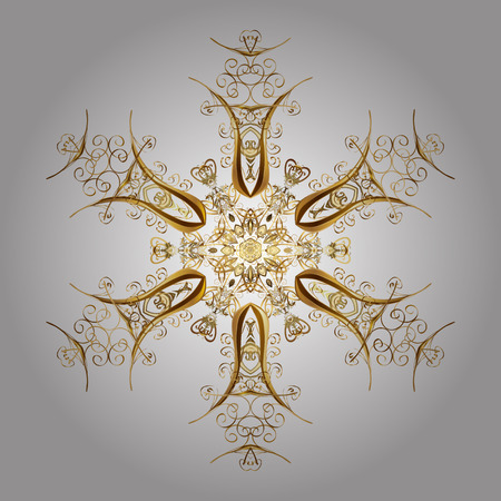 Trendy stylized golden snowflakes and elements memphis cards. Retro style texture, pattern and abstract winter elements. Modern abstract design poster, cover, card design in white colors. Illustration