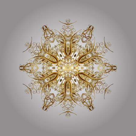 Abstract Gold snowflakes and dots. Illustration