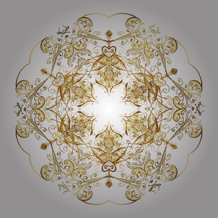 Vector Christmas party design template. Abstract Christmass illustration with gold snowflakes on a white background.