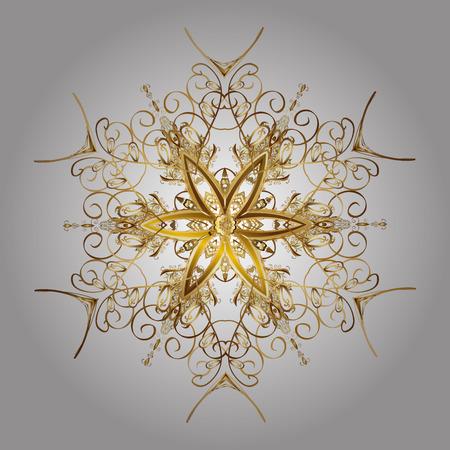 Fiocchi di neve con effetto acquerello. Vector sfondo. Stampa tessile per biancheria da letto, giacca, confezione, tessuti e moda. Design fiocchi di neve dorati astratti.