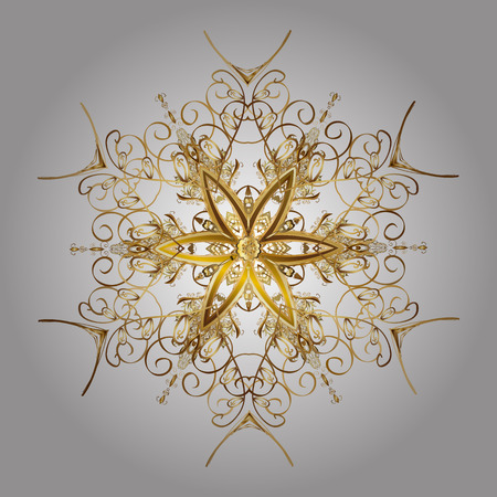 Snowflakes with watercolor effect. Vector background. Textile print for bed linen, jacket, package design, fabric and fashion concepts. Abstract golden snowflakes design. Illustration